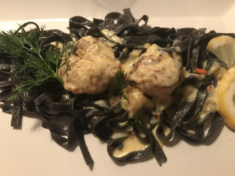 Jakobsmuschel Safran schwarze Nudeln Schlemmer-Menü Elsässer Stube Herne Foodblog Sternestulle