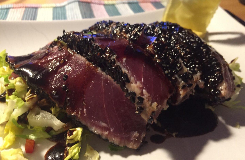 Tunfisch Thunfisch roher Fisch Curryschmand und Kartoffelesspapier Rezept Rezeptidee Foodblog Sternestulle