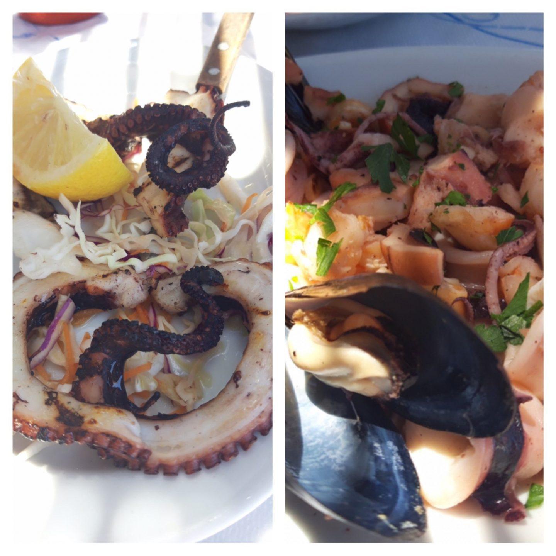 Erfahrung Bewertung Kritik Joannas Nikos Place Mykonos Griechenland Oktopus Meeresfrüchte Salat Foodblog Sternestulle
