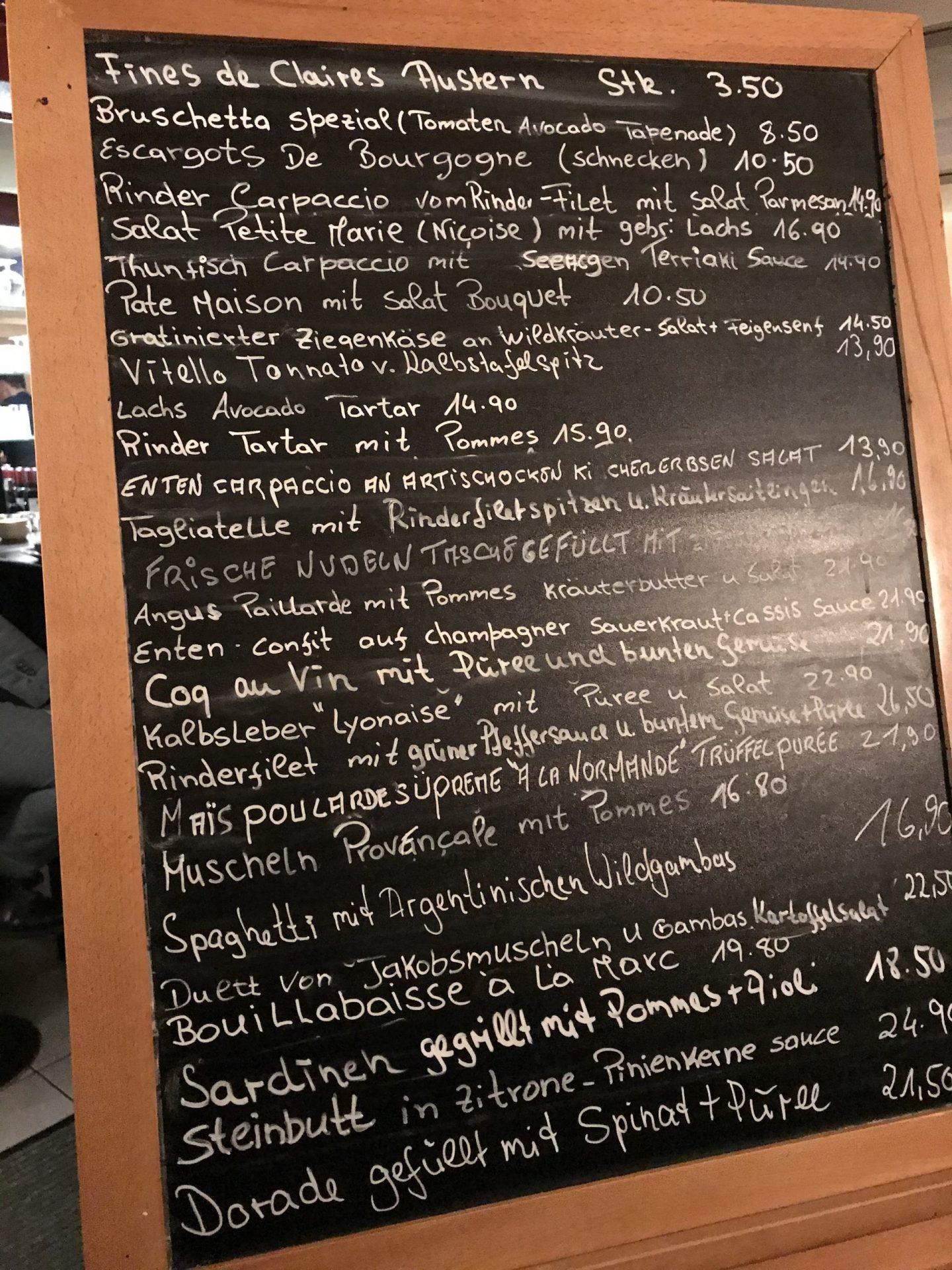 Erfahrung Bewertung Kritik Petite Marie Köln Rodenkirchen Karte Tafel Foodblog Sternestulle