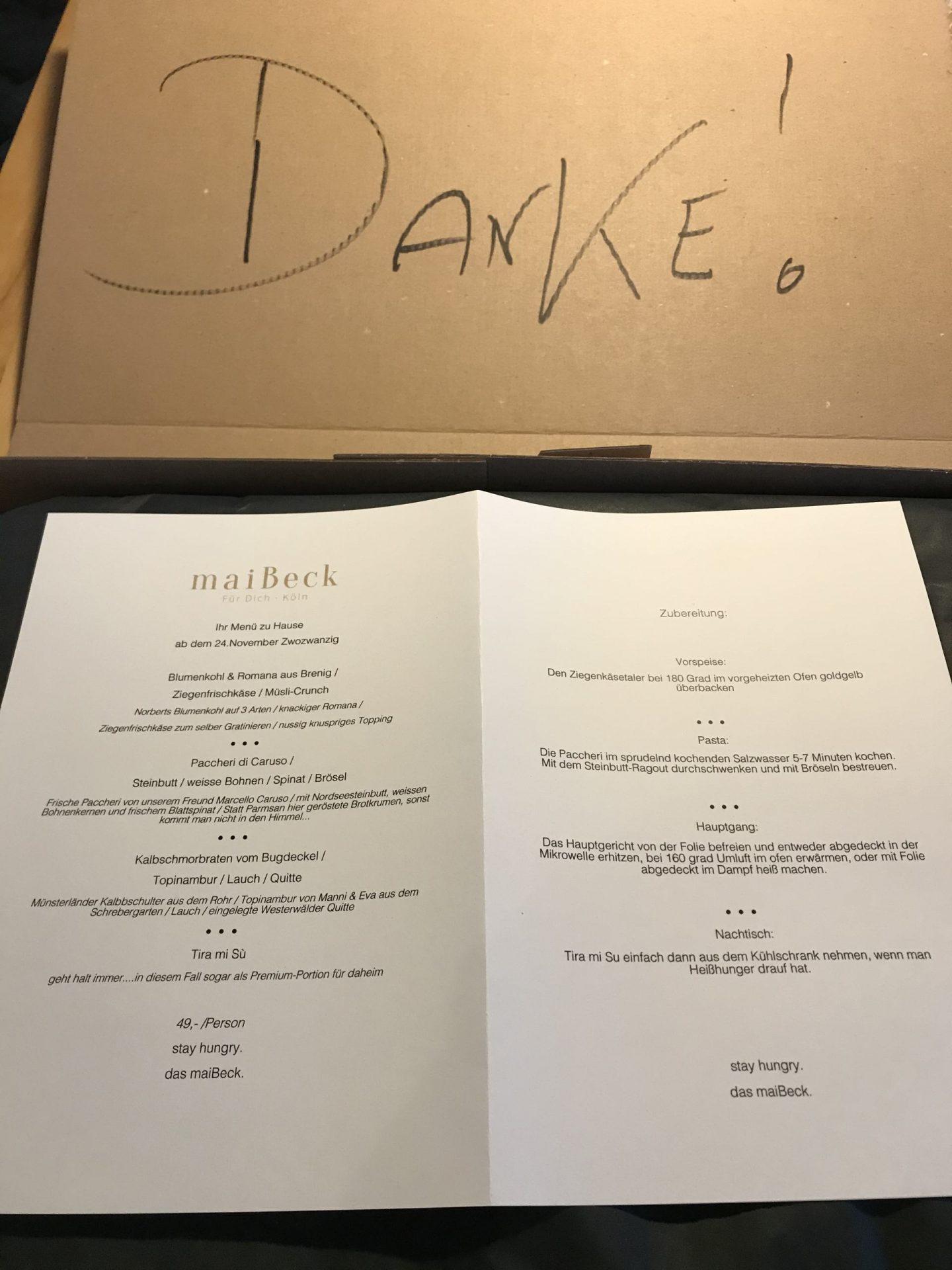 Erfahrung Bewertung Kritik MaiBeck Köln Take away Lockdown Menü Foodblog Sternestulle